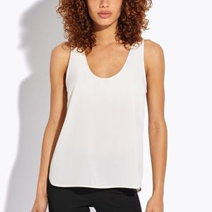 AYR The Scoop off white stretch silk tank top